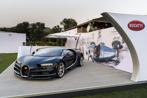 Blue carbon fiber Bugatti Chiron unveiled at car week 2016