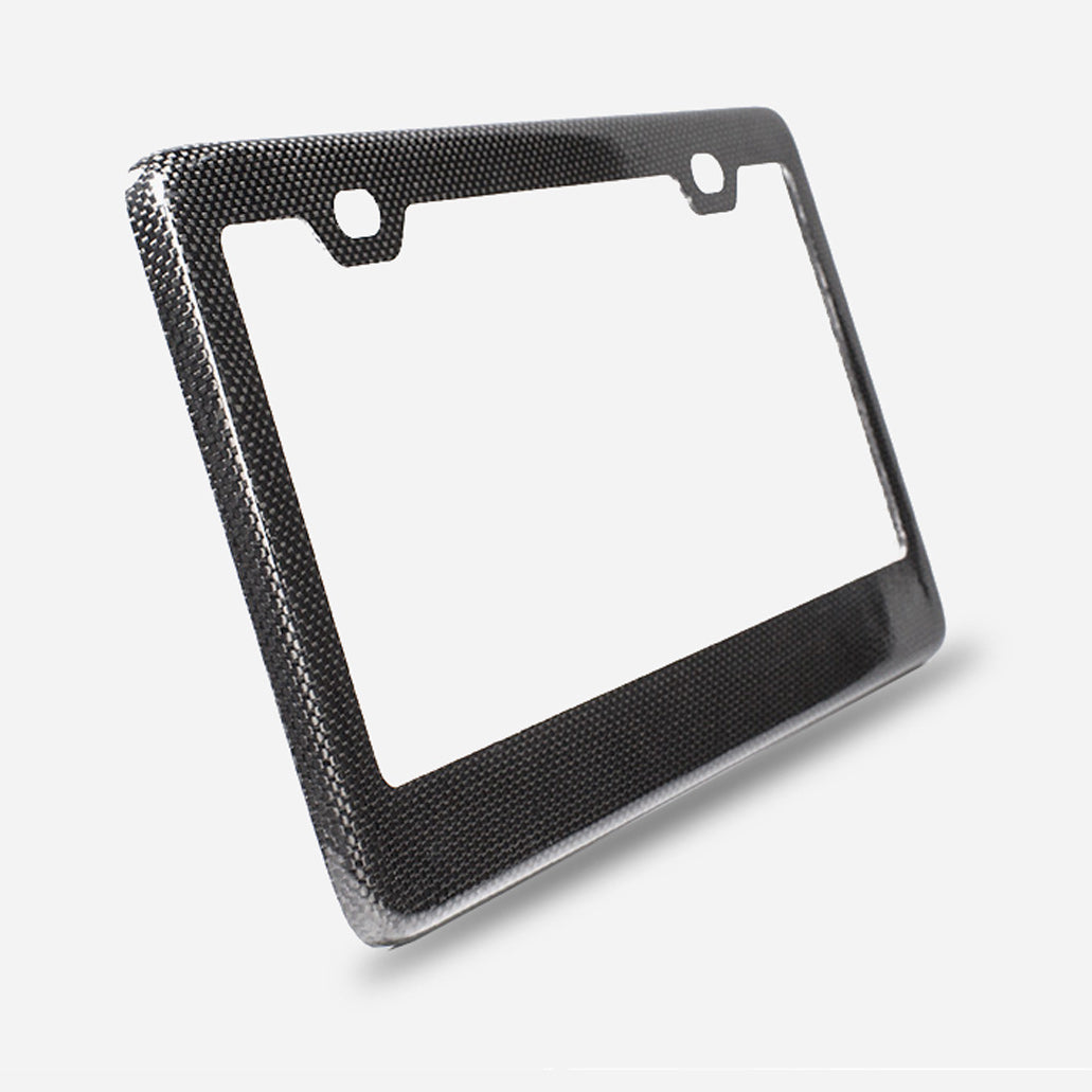 Gloss finish plain weave carbon fiber license plate frame