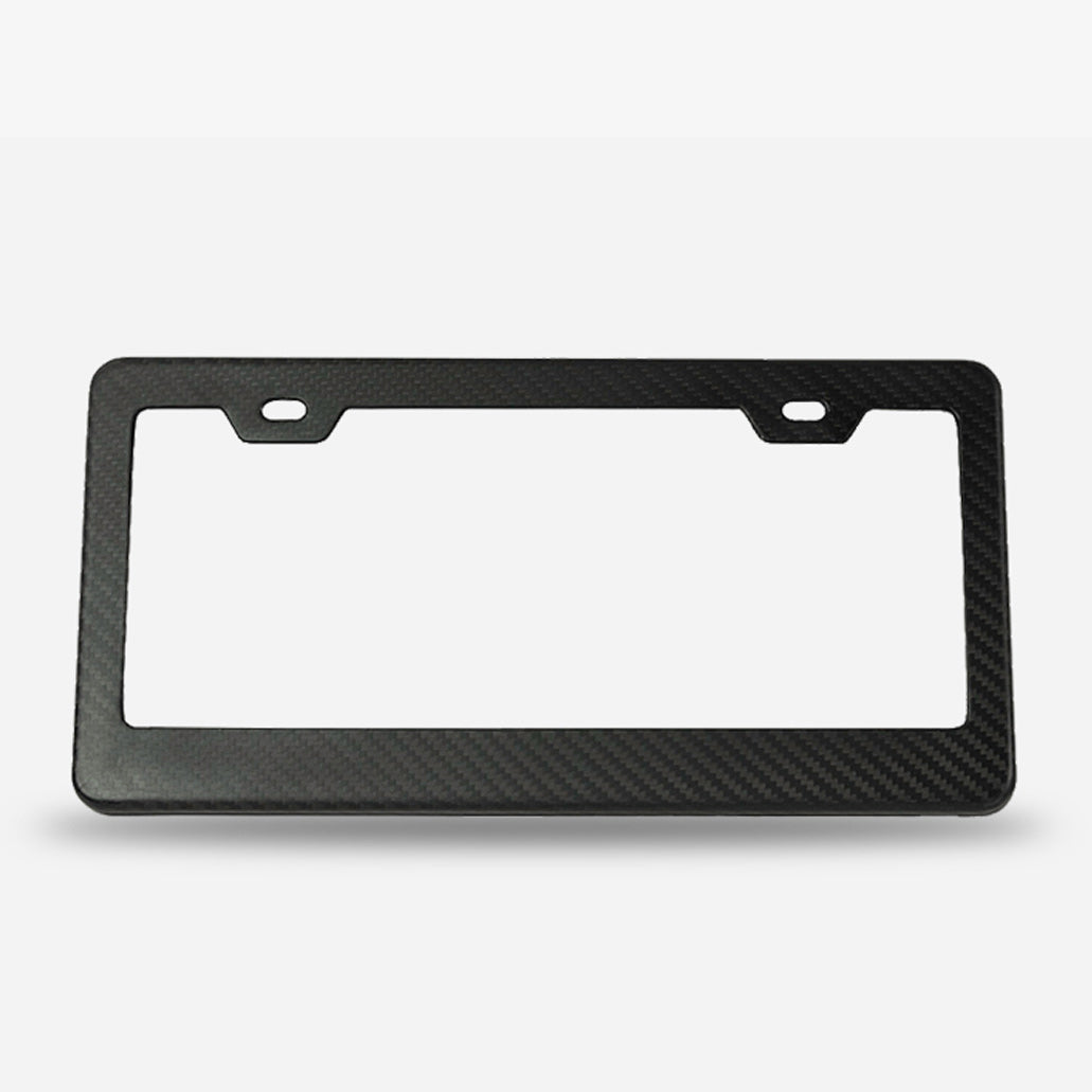 Gloss finish twill weave carbon fiber license plate frame