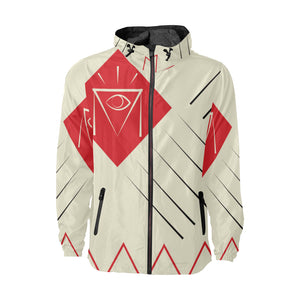 Geometric Hooded Windbreaker