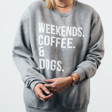 Crew Neck Sweater- Weekends Coffee & Dogs
