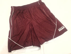 Shorts (maroon/white, reversible, knee-length)