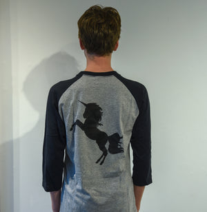T-shirt (gray and black, unisex, 3/4 sleeve, with unicorn!)