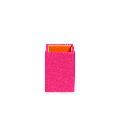 Squared Pencil Cup- Fuschia/Orange
