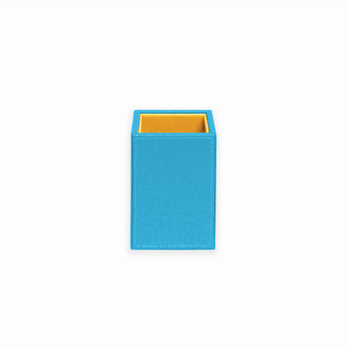 Squared Pencil Cup- Turquoise/Citron