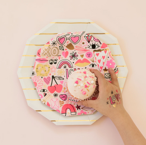 Love notes small pink plates