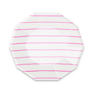 Frenchie stripe Large plates hot pink