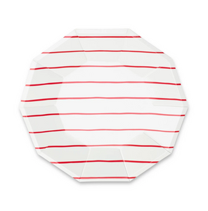 Frenchie stripe Large plates red