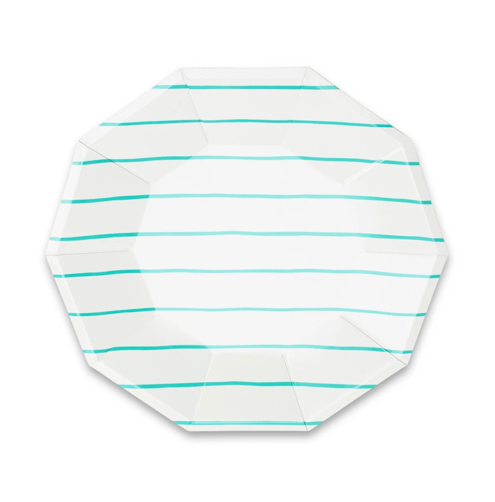 Frenchie stripe Large plates aqua