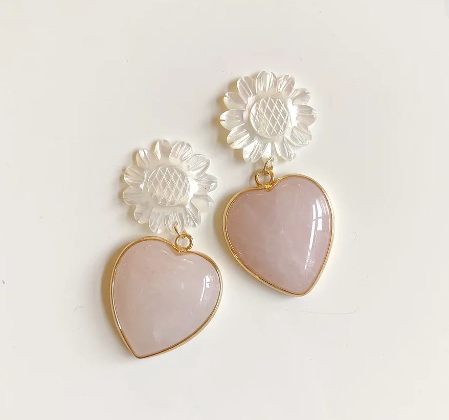Mother of Pearl + Rose Quartz Heart