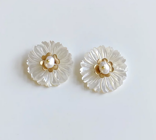 Mother of Pearl Flower + Brass