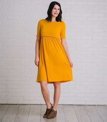 Undercover Mama Mustard Fringe Nursing Dress