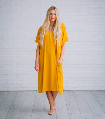 Undercover Mama Mustard House Dress
