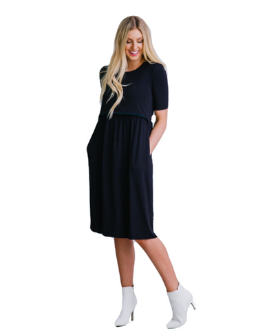 Black Fringe Nursing Dress