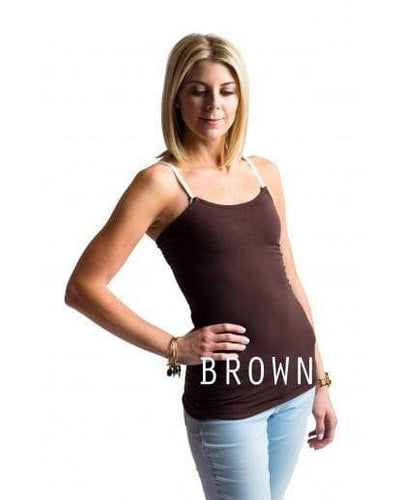 Brown Basic Strapless Tank from Undercover Mama.  Perfect for Breastfeeding and Pregnancy.  Attaches to any bra.