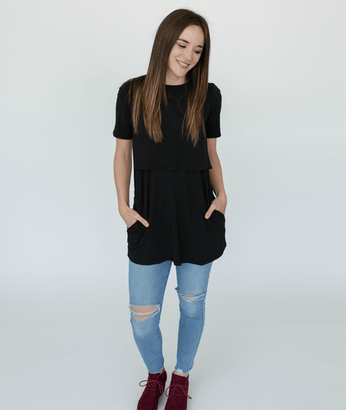 Black Short Sleeve Nursing Tunic Tee Shirt - Undercover Mama