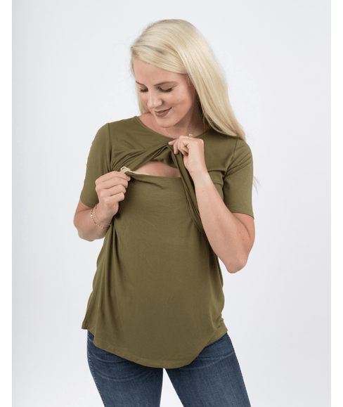 Olive Short Sleeve Nursing Shirt from Undercover Mama - Perfect for Pregnancy and Breastfeeding