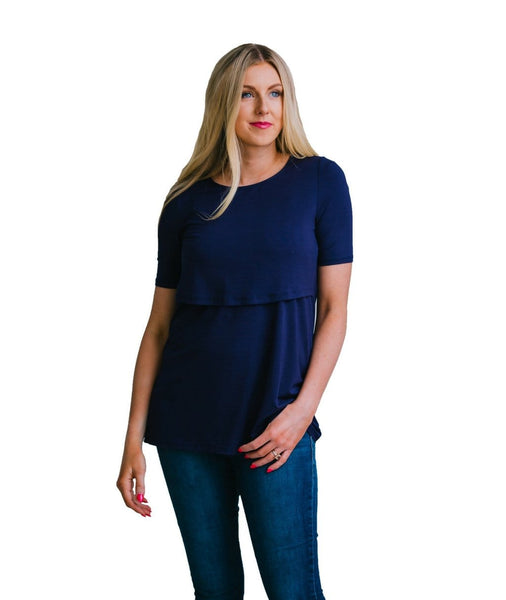 Navy Nursing Shirt -Perfect for Pregnancy and Breastfeeding
