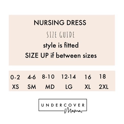 Undercover Sleeveless Nursing Dress Size Chart