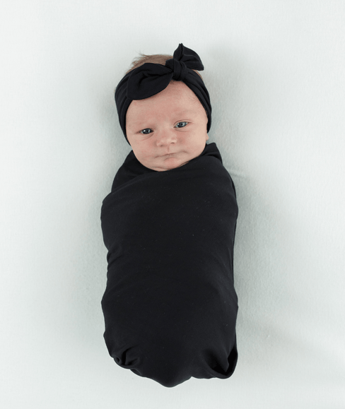 Baby Swaddle Blanket & Head Band Bundle - Black - Undercover Mama