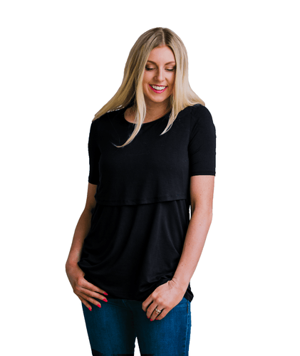 Navy Short Sleeve Nursing Shirt from Undercover Mama - Perfect for Pregnancy and Breastfeeding