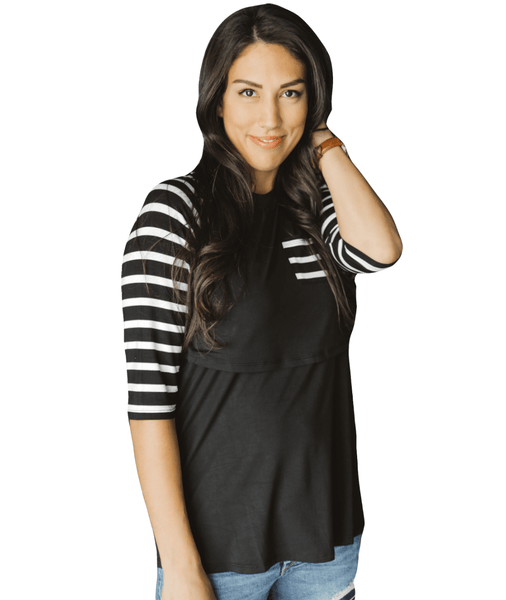 BL Bold Stripe Sleeve Baseball Tee from Undercover Mama- Perfect for Pregnancy and Breastfeeding