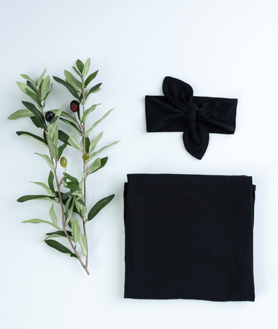 BLACK  Blanket and Headband Baby Bundle