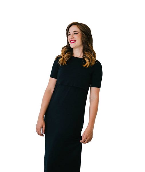 Black Nursing Dress from Undercover Mama. Designed for pregnancy & breastfeeding, featuring our signature One Hand Nursing Access.