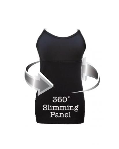Undercover Mama Slimming Strapless Nursing Tank in Black with 360 degree slimming panel