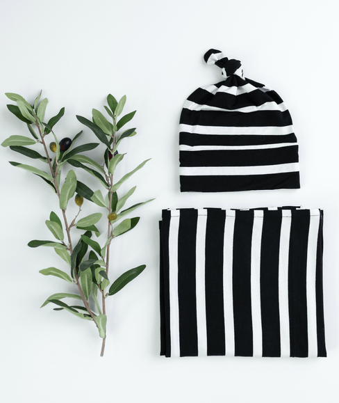 Baby Swaddle Blanket & Hat Bundle - Bold Stripe - Undercover Mama