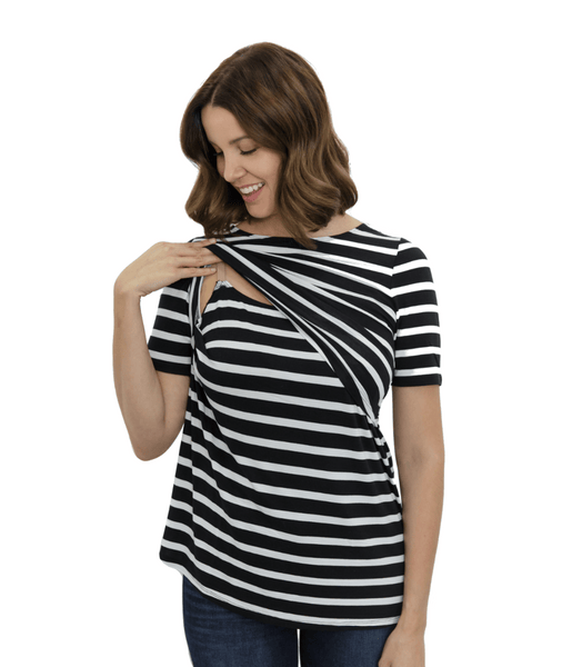 Bold Stripe Nursing Shirt from Undercover Mama-Perfect for Pregnancy and Breastfeeding