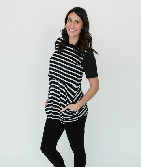 Black and White Striped Short Sleeve Nursing Tunic Tee Shirt - Undercover Mama