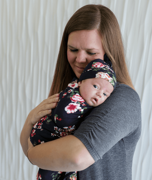 Baby Swaddle Blanket & Hat Bundle - Navy Floral - Undercover Mama