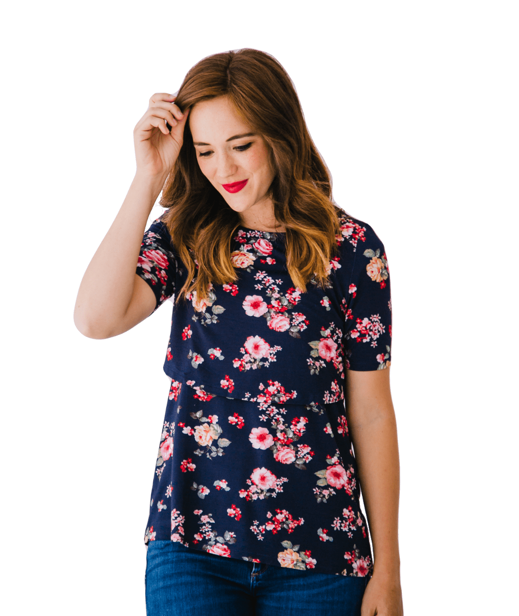 FloralNavy Nursing Shirt -Perfect for Pregnancy and Breastfeeding