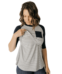 GW Navy Sleeve Baseball Tee from Undercover Mama- Perfect for Pregnancy and Breastfeeding