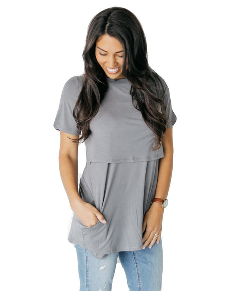 Gray and White Striped Short Sleeve Nursing Tunic Tee Shirt - Undercover Mama