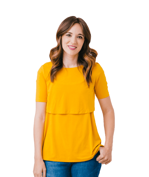 Mustard Nursing Shirt from Undercover Mama-Perfect for Pregnancy and Breastfeeding