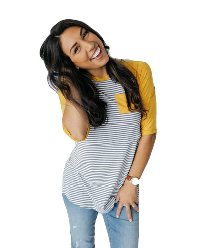 GW Mustard Sleeve Baseball Tee from Undercover Mama- Perfect for Pregnancy and Breastfeeding