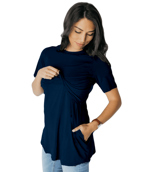 Navy Short Sleeve Nursing Tunic Tee Shirt - Undercover Mama