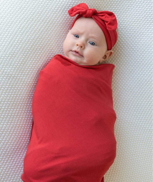 Baby Swaddle Blanket & Head Band Bundle - Red - Undercover Mama