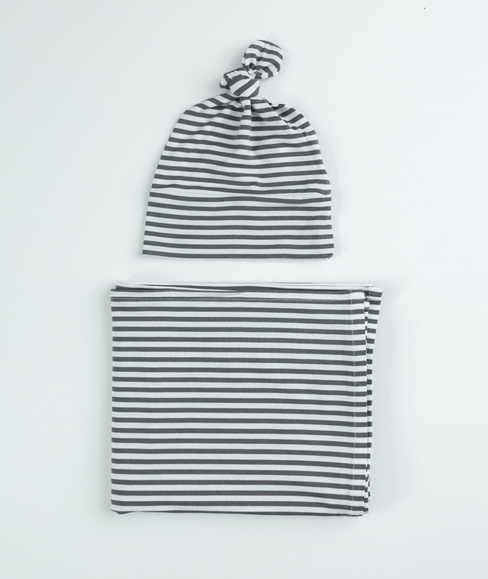 Baby Swaddle Blanket & Hat Bundle - Gray & White Striped - Undercover Mama