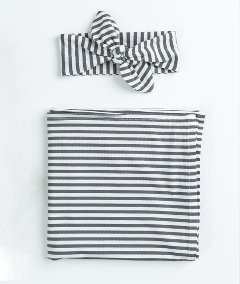 Baby Swaddle Blanket & Head Band Bundle - Gray & White Striped - Undercover Mama