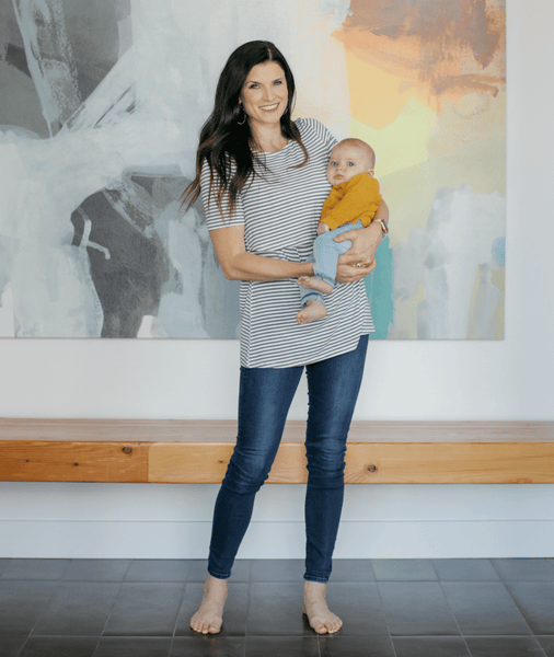 GREY/WHITE STRIPE Undercover Mama Nursing Shirt-Perfect for Pregnancy and Breastfeeding