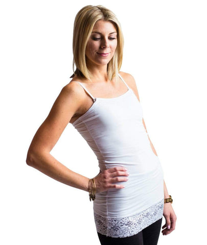 White Lace Strapless Tank from Undercover Mama.  Perfect for Breastfeeding and Pregnancy.  Attaches to any bra.