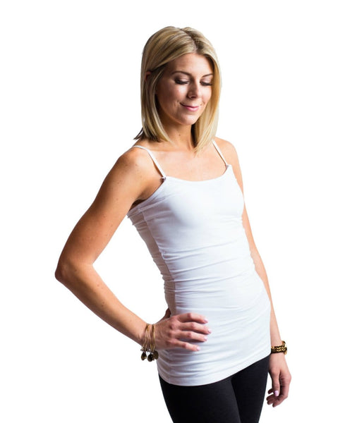 Undercover Mama Slimming Strapless Nursing Tank in White