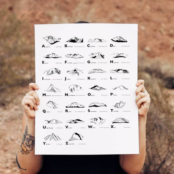 Arizona Mountains Alphabet Print