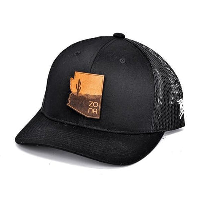 The Zona Curved Trucker Hat - Black / Black