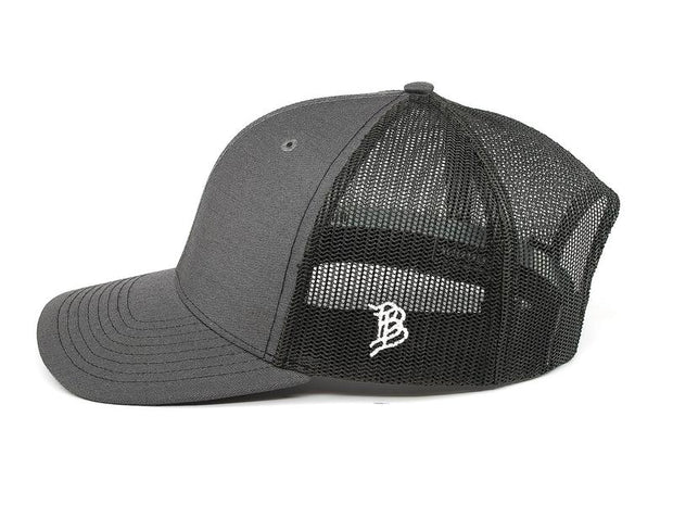 The Zona Curved Trucker Hat - Charcoal / Black