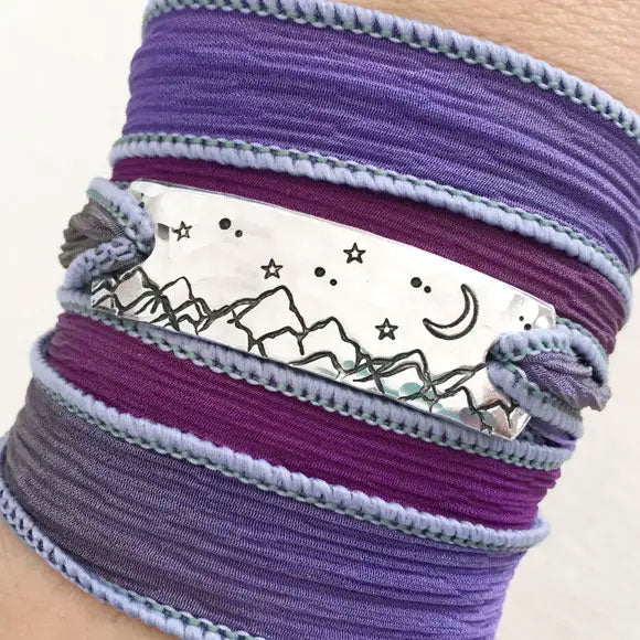 Moonlit Mountains Silk Wrap Bracelet
