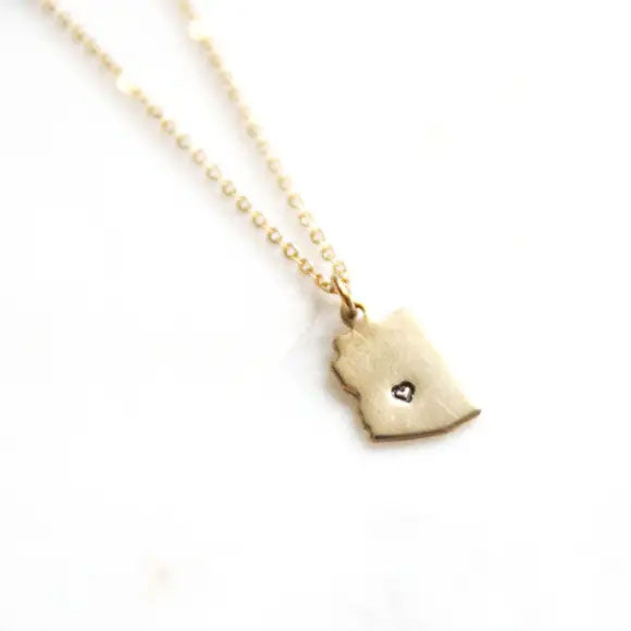 Tiny AZ Love Brass Necklace